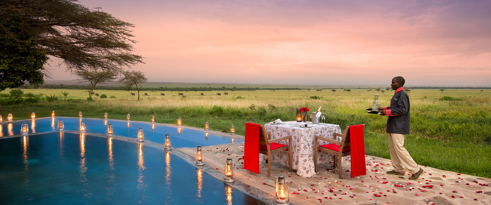 Romantic Dinner by the Pool at &Beyond Kichwa Tembo Tented Camp