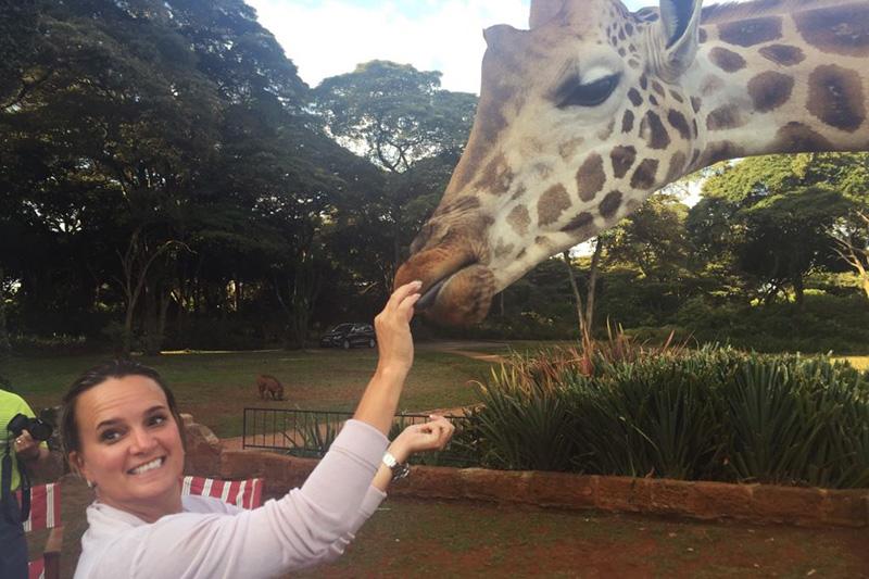 Shannon Bradley - Giraffe Manor, Nairobi Kenya - Feeding Giraffes - Kenya Safari Travel Agents