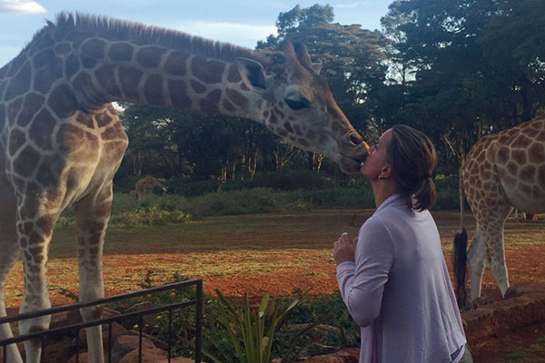 Kissing a giraffe at Giraffe Manor, Kenya