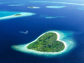 East Africa Beach Vacations - Maldives Heart Shaped Island