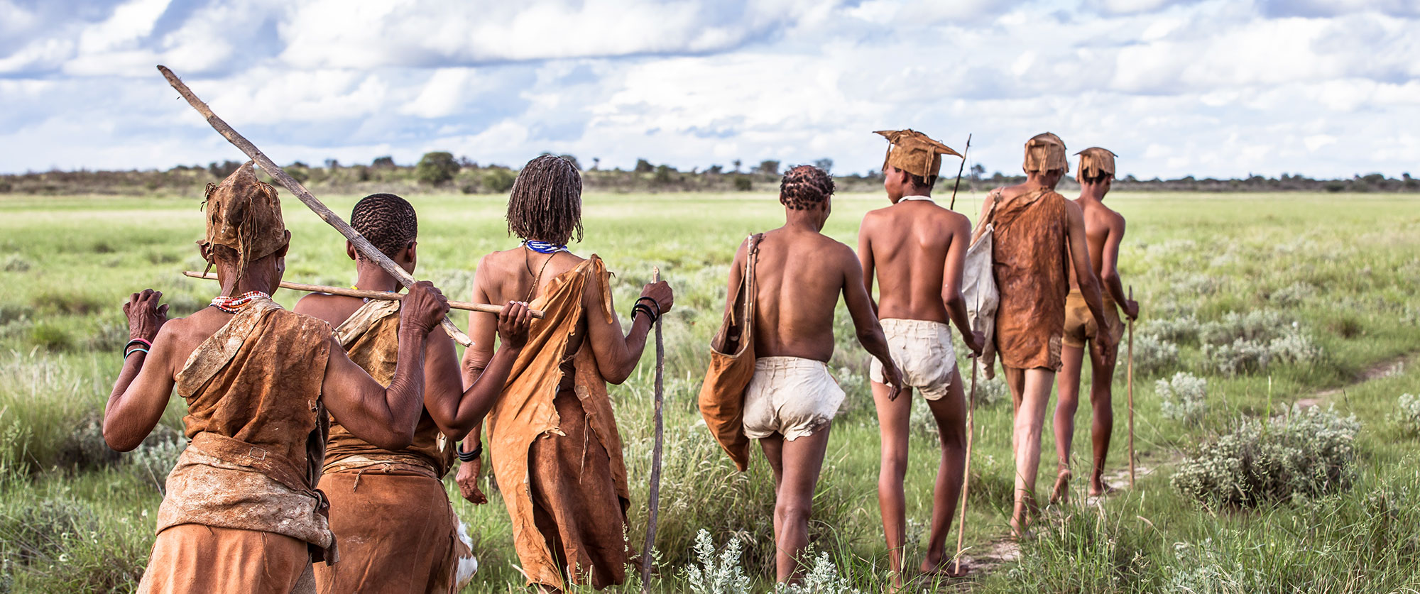 San Bushmen tribe members at Kalahari Plains Camp, Botswana
