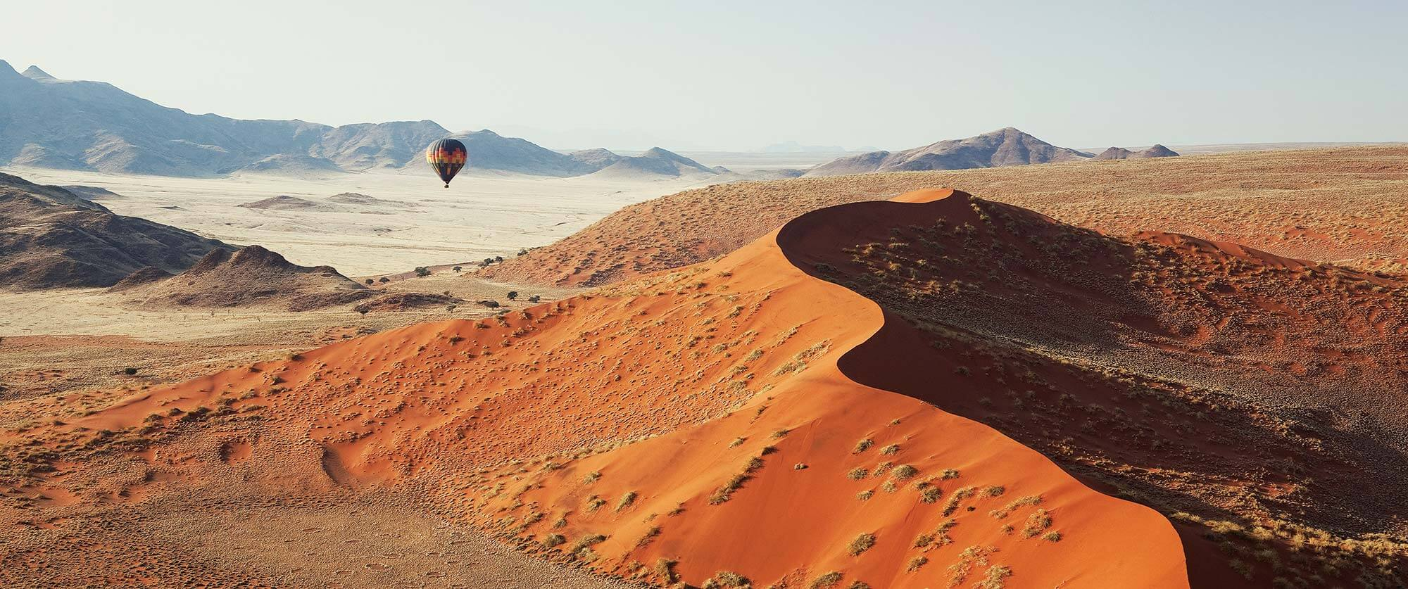 Hot air balloon over Sossusvlei - LIttle Kulala Camp Namibia