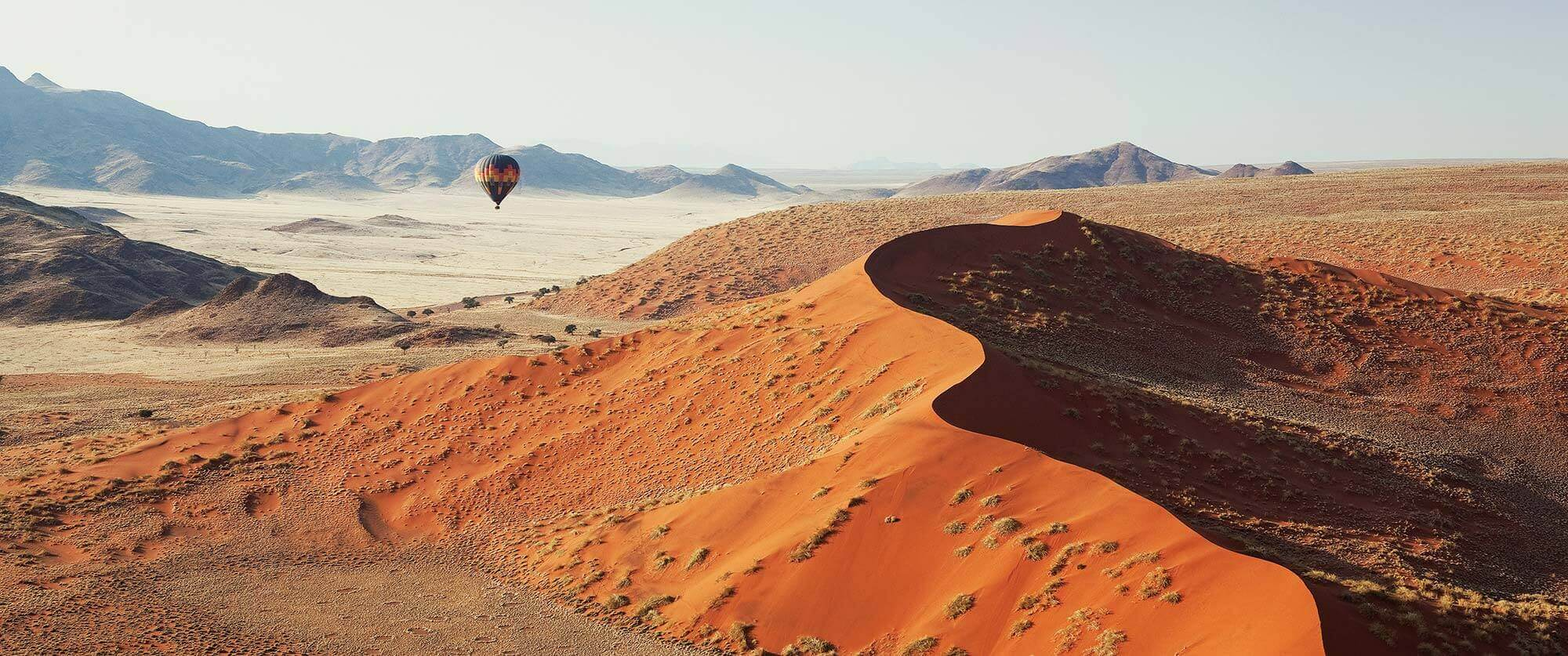 Hot air balloon over the Sossusvlei dunes in Namibia