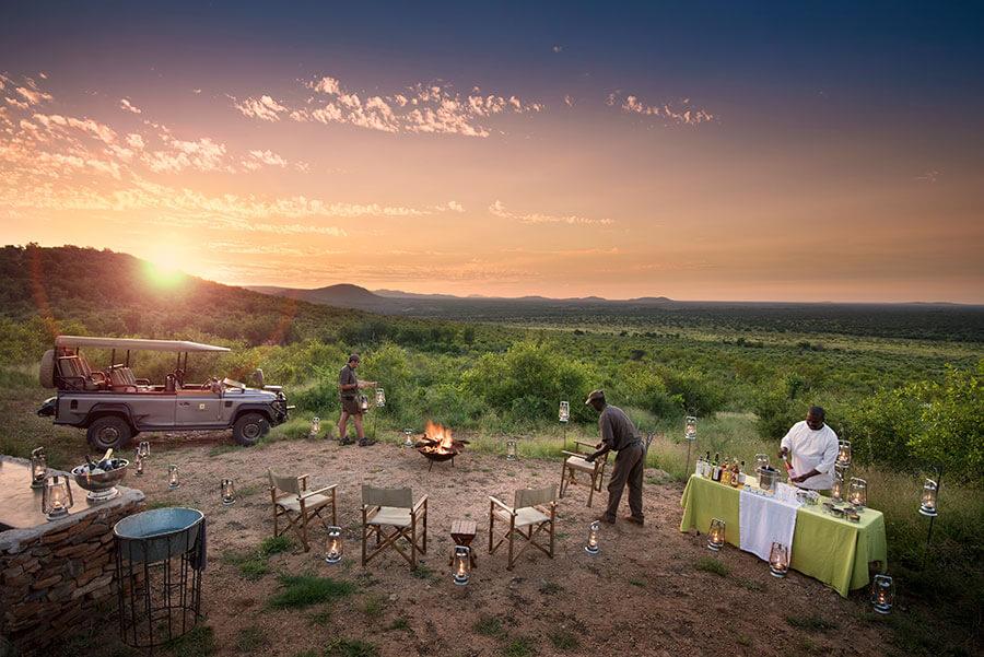 South Africa safari - Sundowners and bush dinner at Morukuru