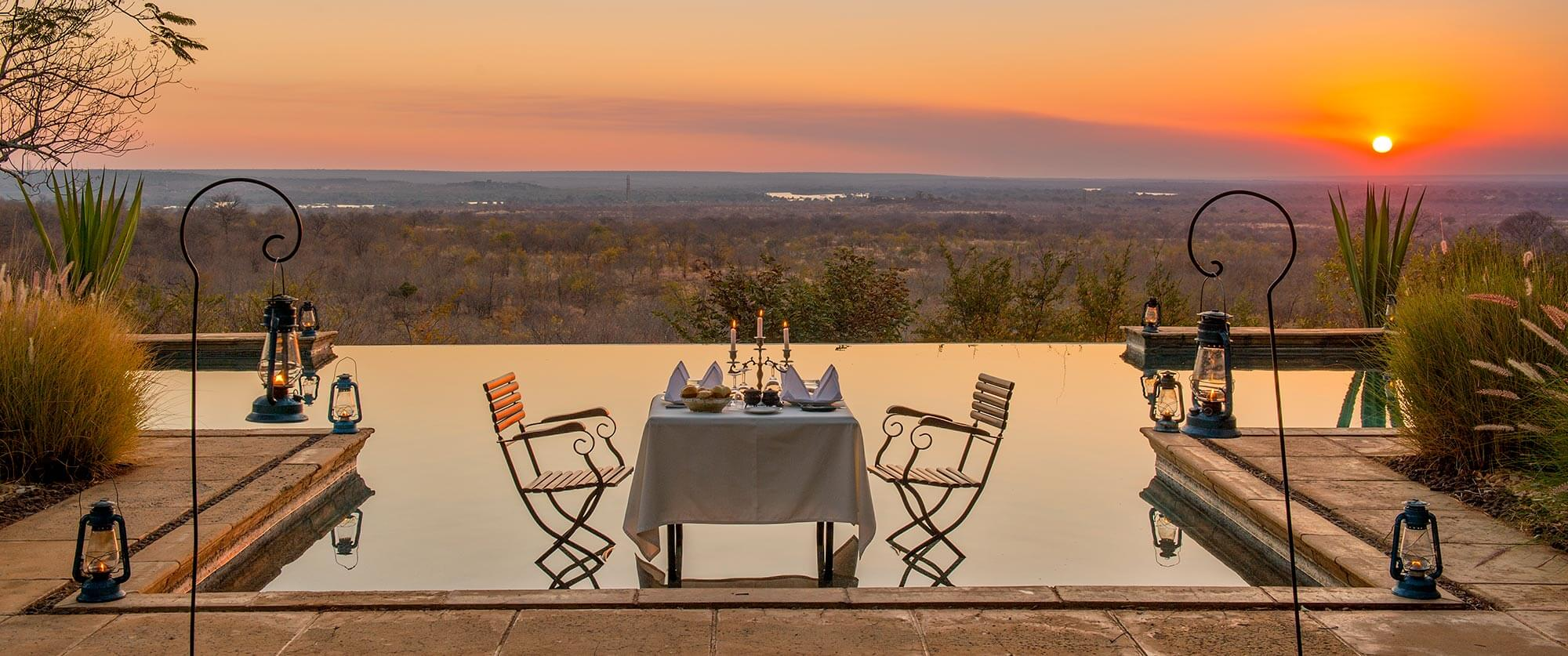 Pool at Sunset, Stanley Safari Lodge, Victoria Falls - South Luangwa, Mana Pools, and Victoria Falls Adventure Package