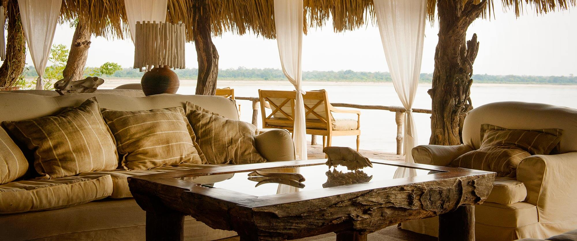 Lounge at Sand Rivers Selous - Selous Game Reserve Safaris - Remote Tanzania Safari Adventure