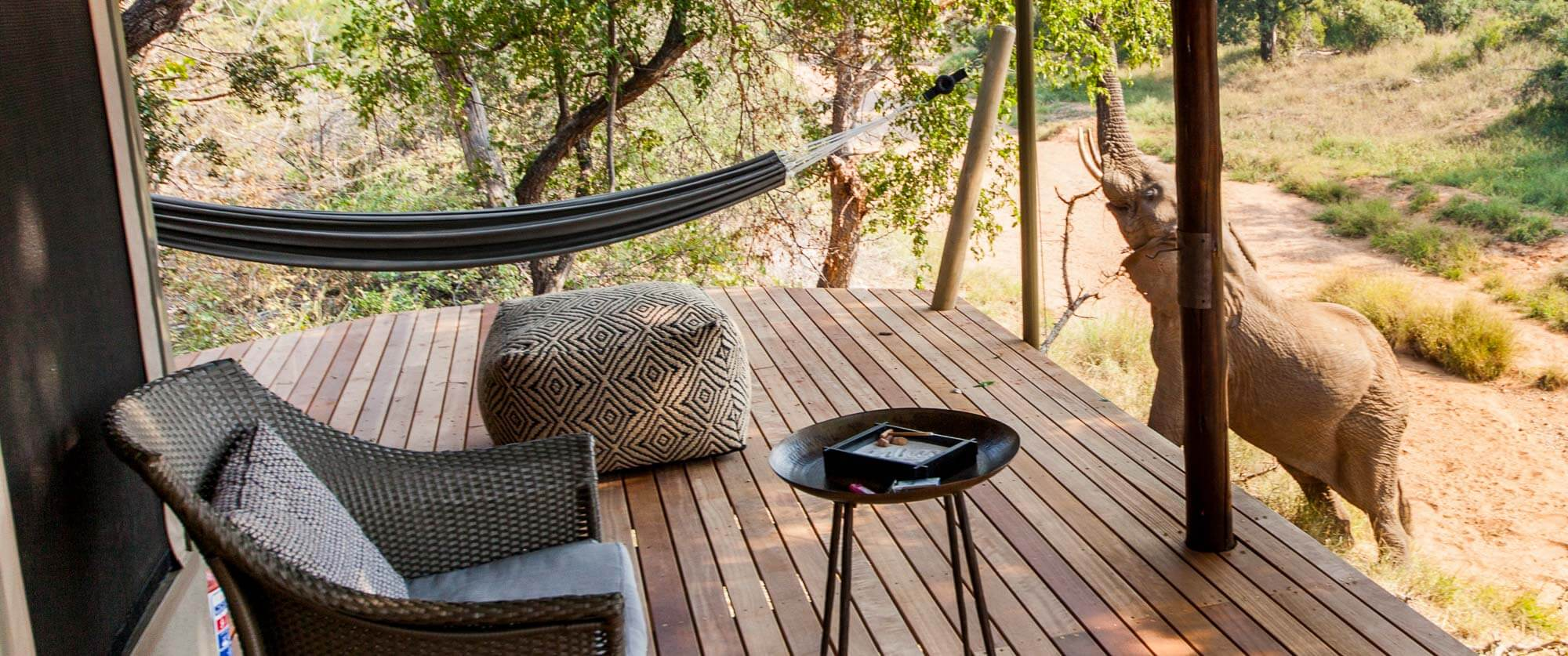 Private Deck at Garonga Safari Camp - Kruger Safari, City, and Winelands Vacation
