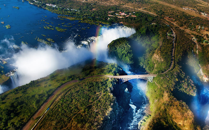 Aerial View of Victoria Falls and Livingstone Bridge
