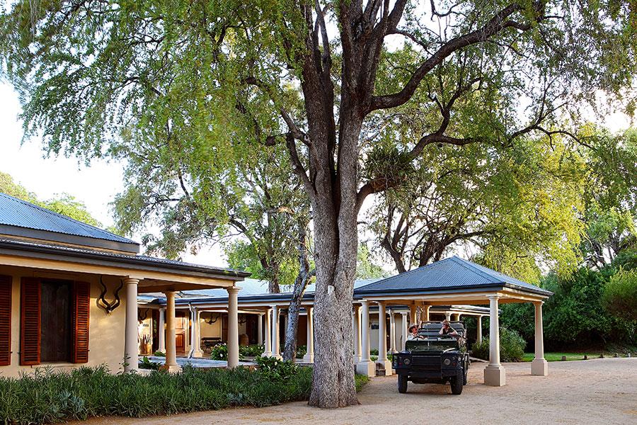 MalaMala Rattrays Camp - Safari Vehicle at Camp Entrance