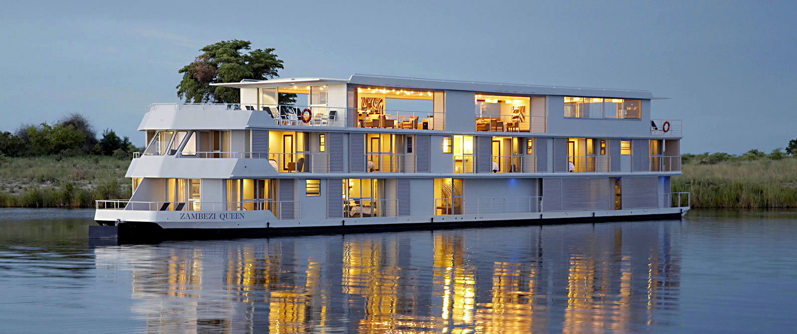 Exterior of the Zambezi Queen River Cruise Vessel