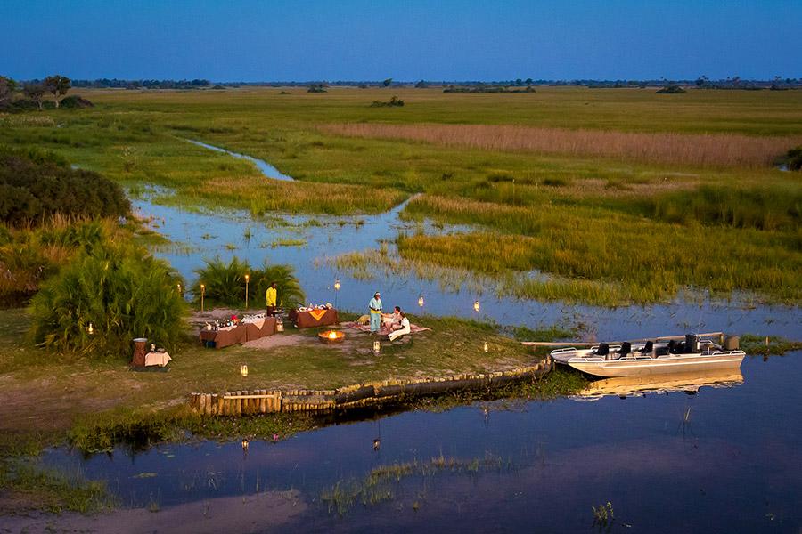 Romantic picnic in the Okavango Delta