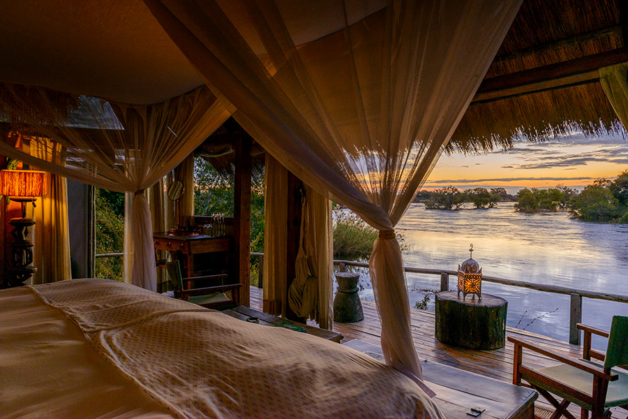 River view from a cottage at Sindabezi Island Lodge