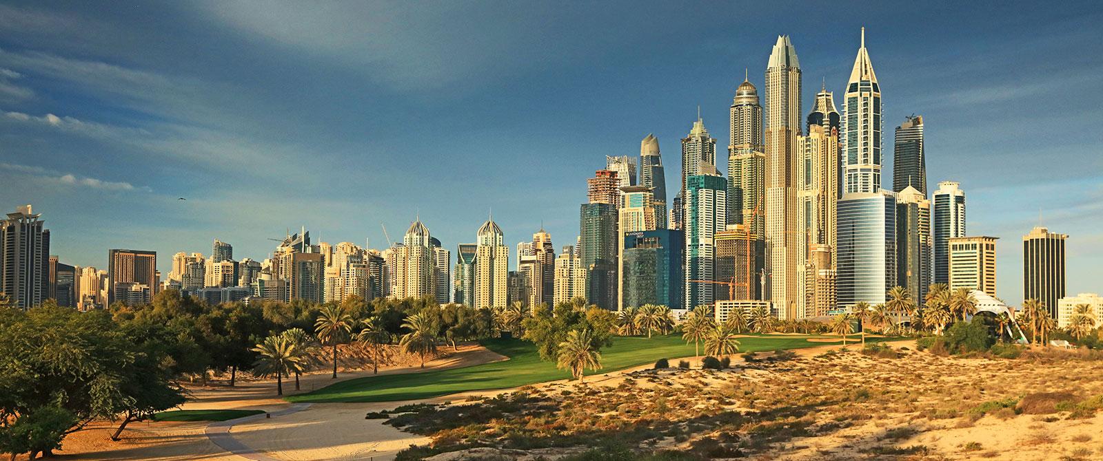 Emirates Golf Club - The Majlis course with Dubai skyline