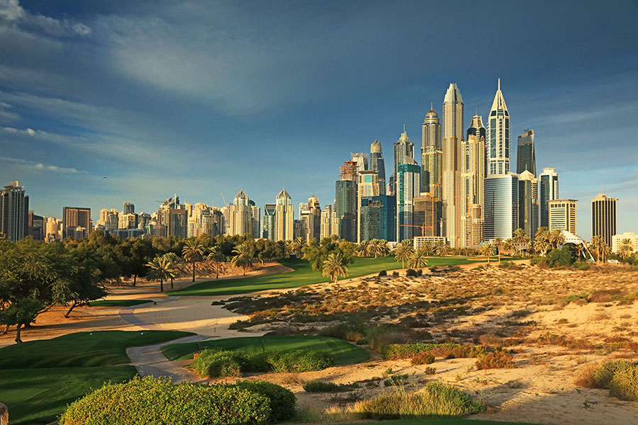Dubai skyline seen from The Majlis golf course