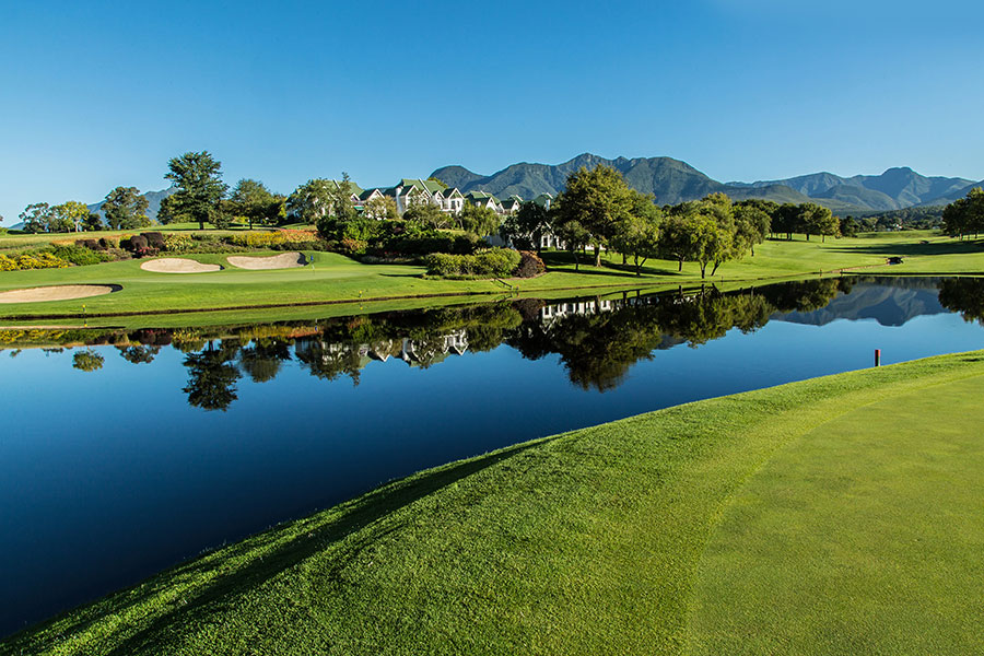 Views of the Clubhouse and Mountains at Fancourt Montagu Golf Course, South Africa