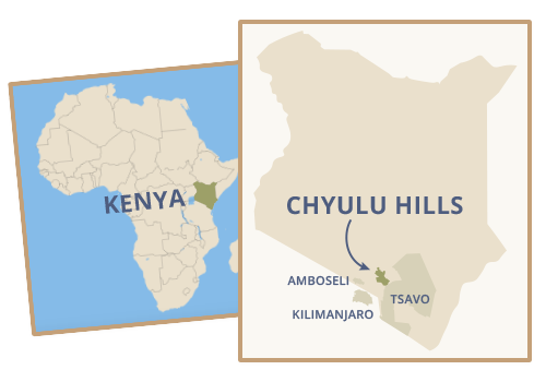 Chyulu Hills, Kenya, is located near Amboseli National Park, Tsavo National Park, and Mt Kilimanjaro